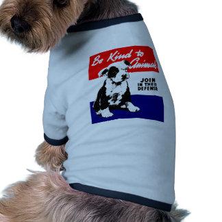 Poster animal de la amabilidad del vintage camiseta con mangas para perro