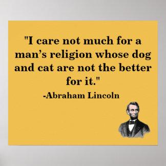 Poster animal de la cita de Abraham Lincoln del