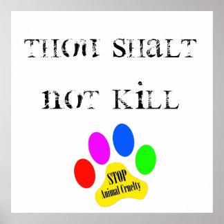 Poster animal de la crueldad de la parada de la ma