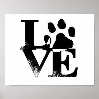 Poster animal de la impresión de la pata del amor