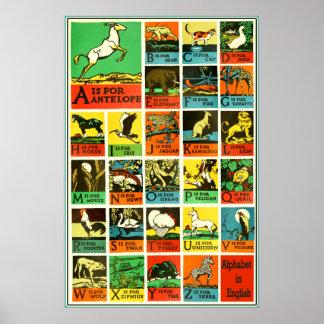 Poster animal del alfabeto del ABC - carta de la a