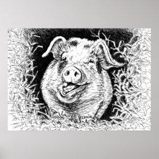 poster animal del dibujo del cerdo feliz