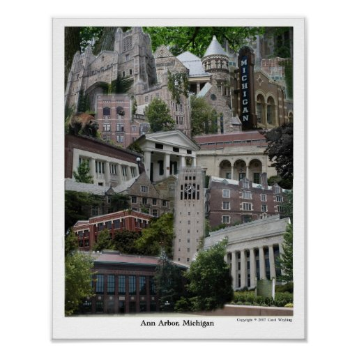 Poster Ann Arbor Michigan 11 x 14 del collage