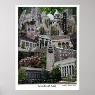 Poster Ann Arbor Michigan 18 x 24 del collage