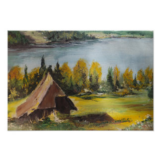 Poster Ann Hayes Painting Chalet On The Lake
