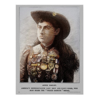 Poster Annie Oakley color de la gaceta de la pol