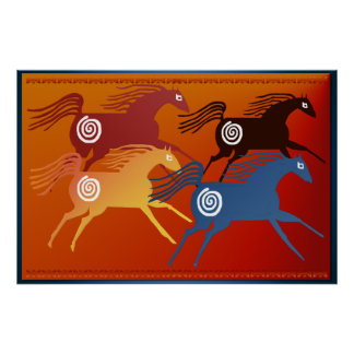 Poster antiguo de cuatro caballos