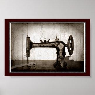 Poster antiguo de la máquina de coser