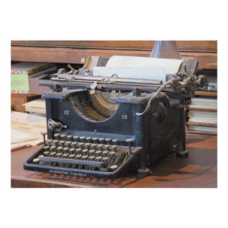 Poster antiguo de la máquina de escribir