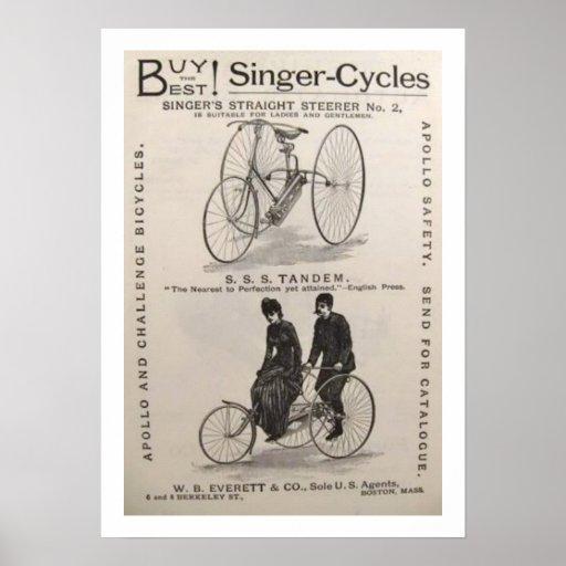 Poster antiguo de la publicidad de la bicicleta