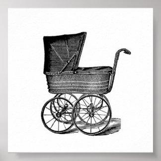 Poster antiguo del carro de bebé