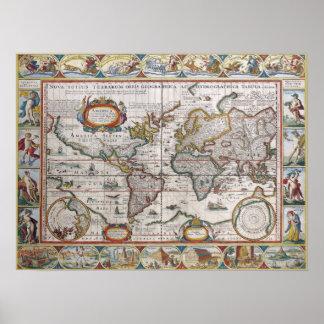 Poster antiguo del mapa del mundo