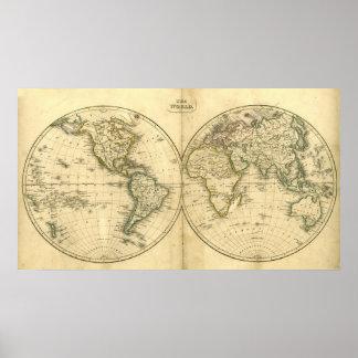 Poster antiguo del mapa del mundo póster