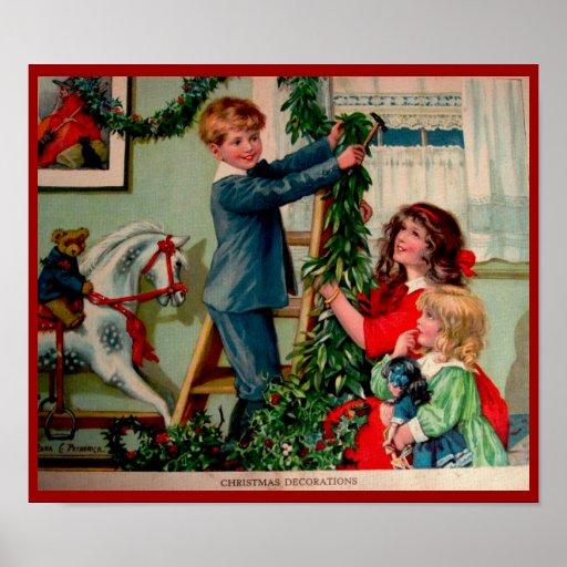 Poster antiguo del navidad del ejemplo