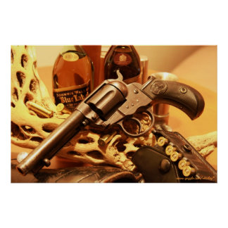 Poster antiguo del oeste salvaje del revólver del