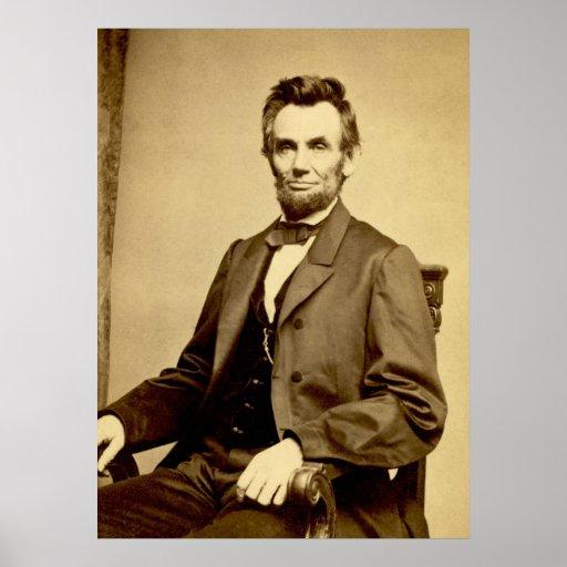 Poster antiguo del retrato de Abraham Lincoln