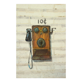 poster antiguo del teléfono de pago