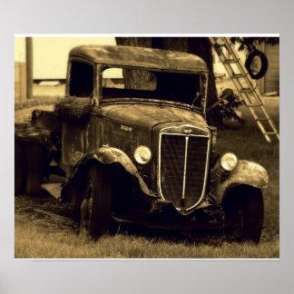 Poster antiguo grande del camión - vehículo del vi