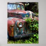 Poster antiguo viejo oxidado del camión