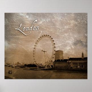 Poster Antiqued del ojo de Londres