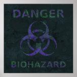 Poster apenado del símbolo del Biohazard (púrpura)