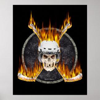Poster ardiente de los palillos de hockey