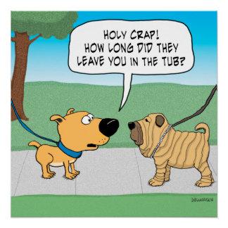 Poster arrugado divertido del perro de Shar-Pei