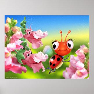 Poster art cute Ladybug and Snap Dragons