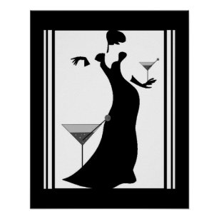Poster Art Deco Lady Black White