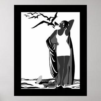 Poster ART DECO LADY Black White birds