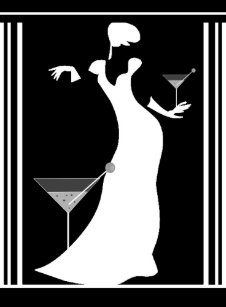 Poster Art Deco Lady Black White Reverted