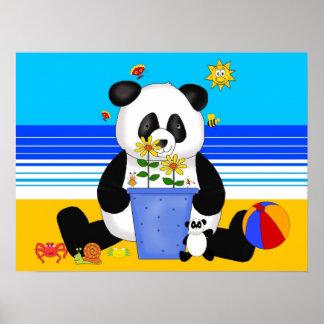 Poster Art Kid's Panda At The Beach Posters