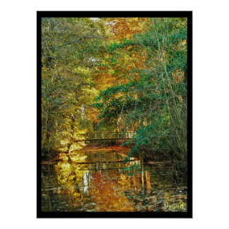 poster art photo autumn bridge under wood river