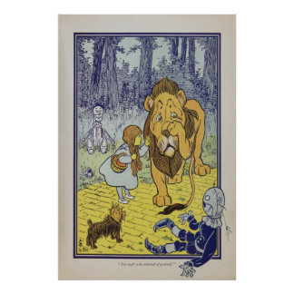 POSTER ART - WIZARD OF OZ - DOROTHY COWARDLY LION
