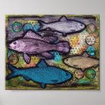Poster, arte de los pescados, técnicas mixtas del