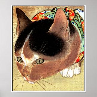 """Poster: Arte del gato del vintage: """"Gato curioso d"""
