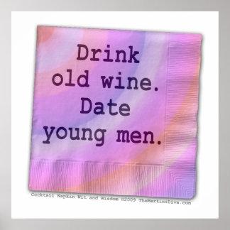 Poster, arte - hombres jovenes del vino viejo póster