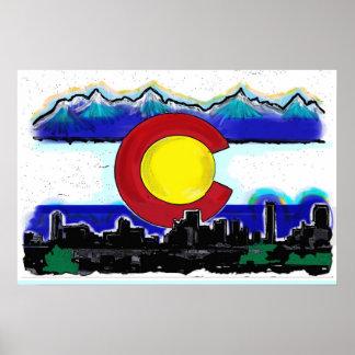Poster artístico del horizonte de Denver de la ban