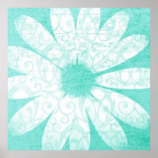 Poster artsy blanco azul de la flor de la margarit póster