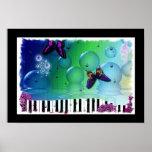 Poster artsy colorido de la música del piano