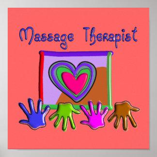 Poster artsy y enrrollado del terapeuta del masaje