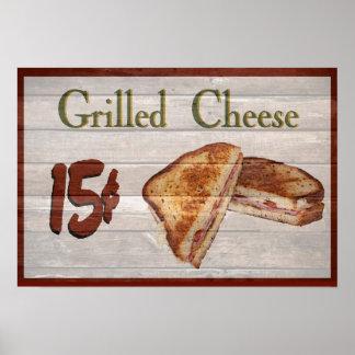Poster asado a la parrilla del queso