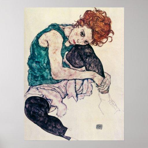 Poster asentado Schiele de la mujer de Egon