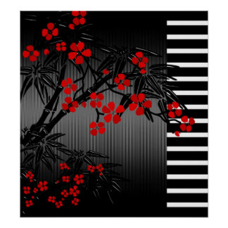 Poster Asian Red Black White Bamboo Floral 2
