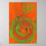 Poster asiático abstracto del verde de la pregunta