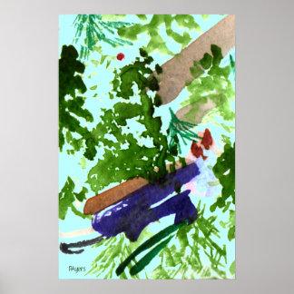 Poster asiático del extracto del jardín