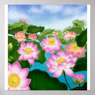 Poster asiático del jardín de Lotus Póster