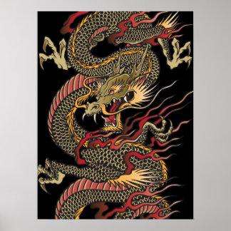 Poster asiático impresionante del dragón