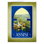 Poster Assisi Italia del vintage del viaje Felicitaciones