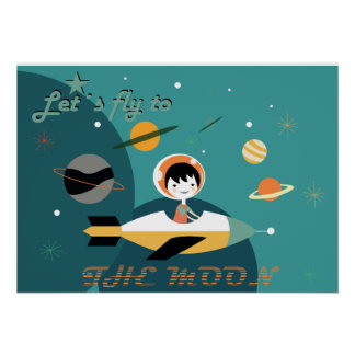 Poster, astronaut, children's room, picture, poster